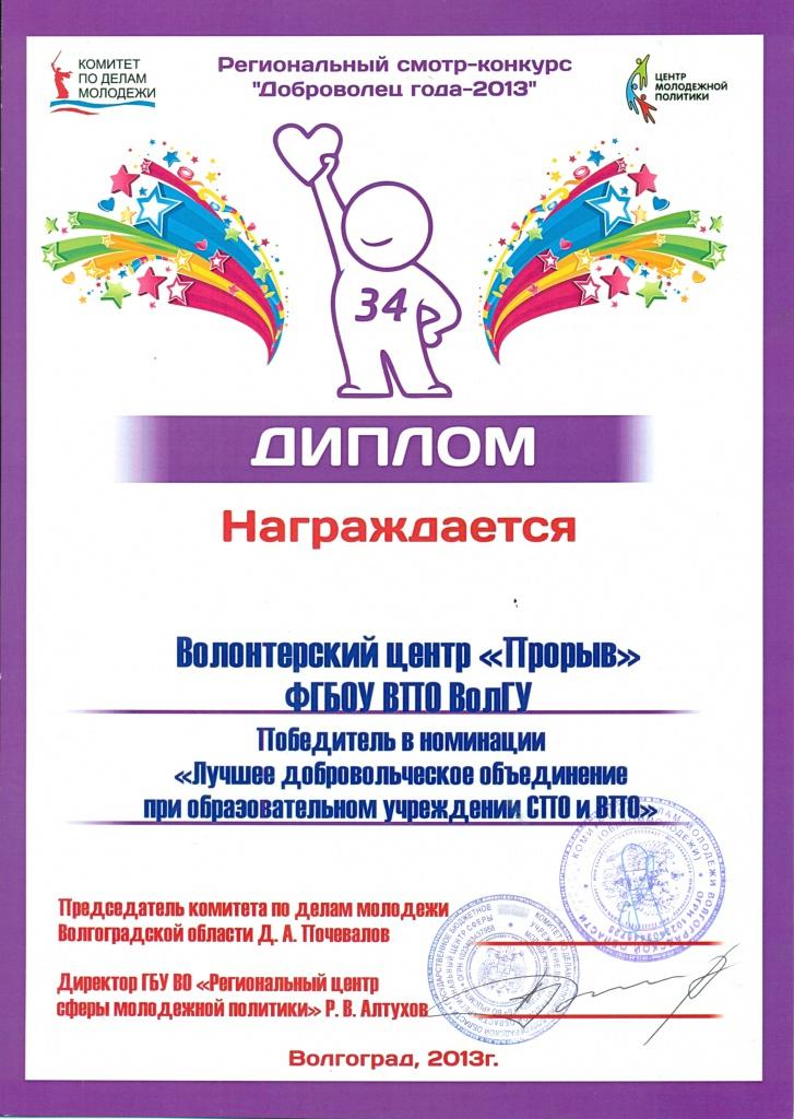 Победителей конкурса доброволец